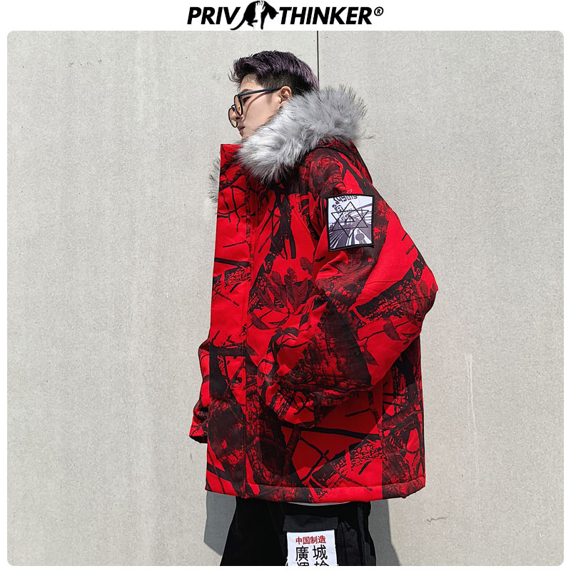 Privathinker 2019 Men Winter Oversize Hip Hop Camouflage Hooded Parkas Mens Thick Warm Mountain Windbreaker Collar Jackets Tops