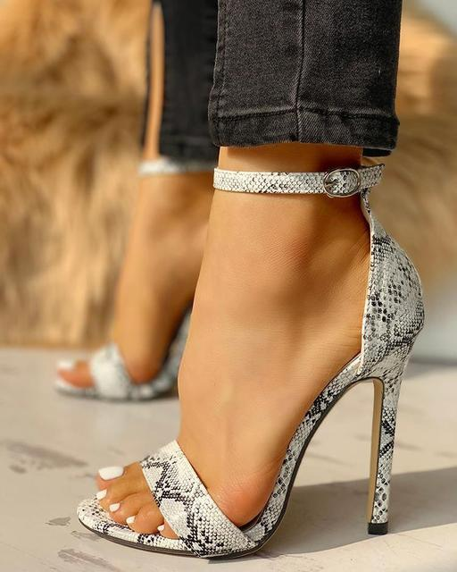 2020 new fashion snakeskin super high thin heels summer shoes for women open toe sexy Buckle Strap lady pump sandals 1