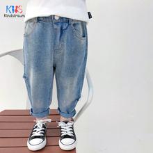 2020 moda dla dzieci dżinsy zgrywanie dżinsy dla chłopców luźny styl modne spodnie dżinsowe spodnie bawełniane dla chłopców dżinsy DC220 tanie tanio Kindstraum Na co dzień Pasuje prawda na wymiar weź swój normalny rozmiar Elastyczny pas Unisex Stałe Proste light Distrressed