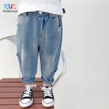 2020 модные детские рваные джинсы для мальчиков свободные стильные