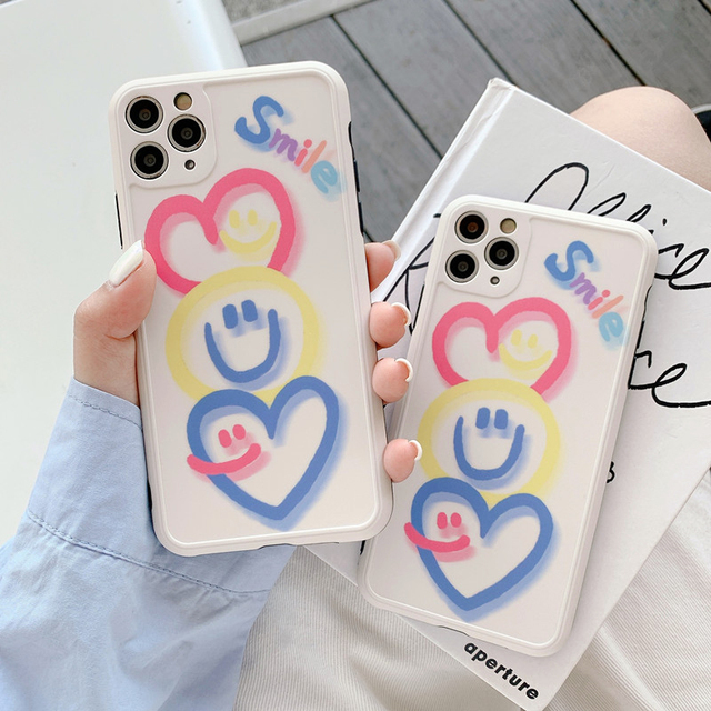 Luxe Caméra Len Sourire Amour Coeur pour iphone 11 pro max XSMAX XR XS 8 plus 7 plus SE 2020 Souple IMD Couverture de Graffiti