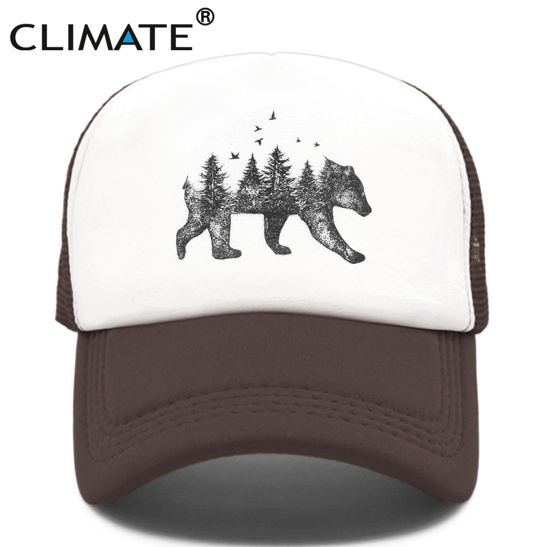 CLIMATE Forest Bear Trucker Cap Hunter Hunting Cap Hat Hip Hop Men Women Hat Baseball Cap Cool Summer Mesh Caps