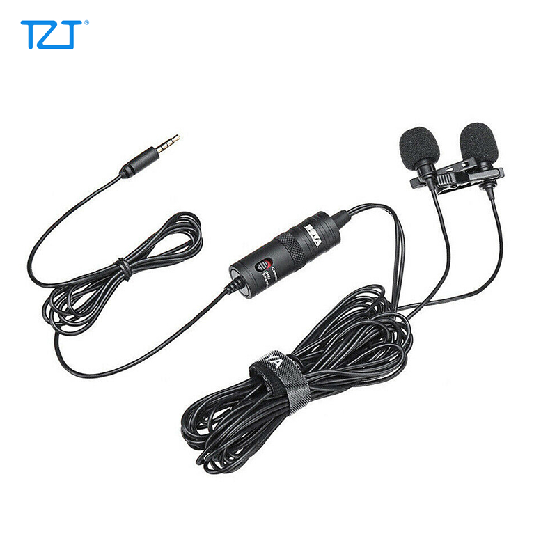 TZT BOYA BY-M1DM Dual Lavalier Microphone Omni-directional Mini Clip-on Lapel Microphon For Smartphone