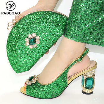 Top Selling Woman Italian Pointed Toe Shoes And Purse Set African Style Square Heels Sandals Shoes And Bag For Fashion Party