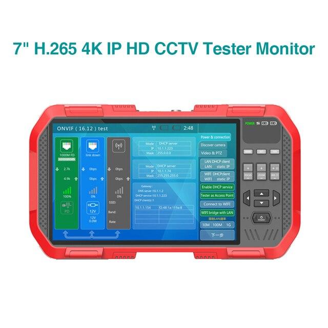 "7"" H.265 4K IP HD CCTV Tester Monitor AHD CVI TVI Camera Tester 8MP WIFI POE 12V Video Cable Testing HDMI Camera Tester"