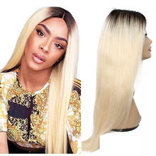 Wig Closure-Wig Blonde Human-Hair Lace 12-30inch Straight Brazilian 4x4 1b-613 Ombre