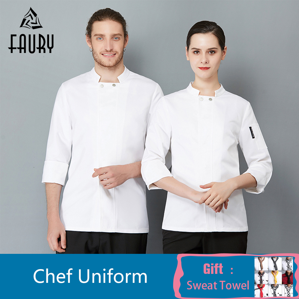 Men Women Chef Jacket Coat Tops Cooking Uniform Long Sleeve Restaurant Hotel Kitchen Hotel Workwear Catering Work Clothes