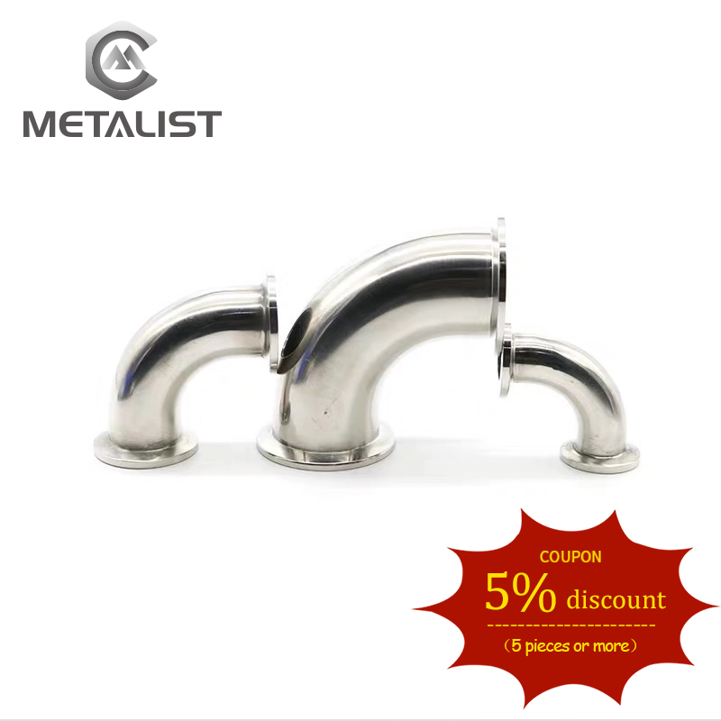 METALIST Pipe OD 19MM-38MM Stainless Steel SS304 Sanitary 90 Degree Elbow Weld Ferrule OD 50.5mm Fit 1.5