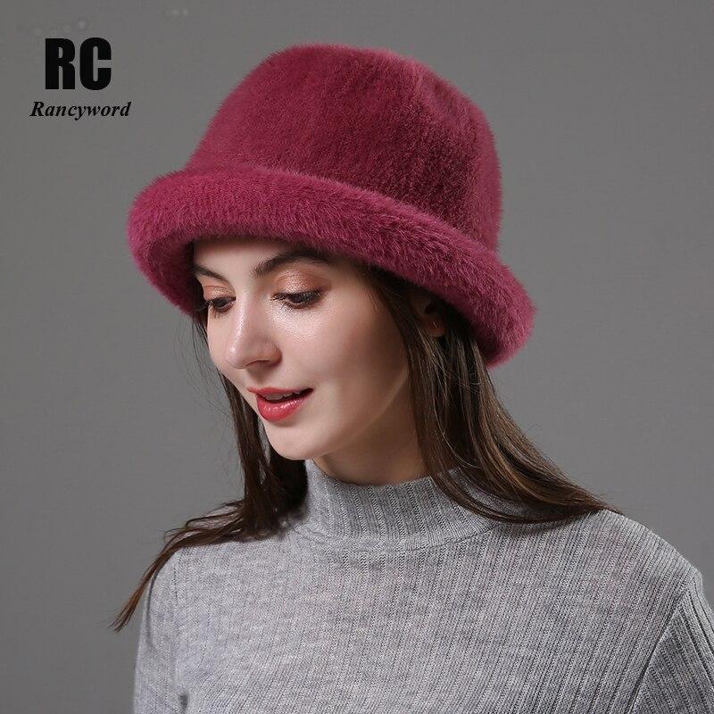 [Rancyword]   Wool Elegant Women Hat Dome Short Brim Hats Female British Retro Autumn Winter Basin Cap Faux Velvet Hat RC2070