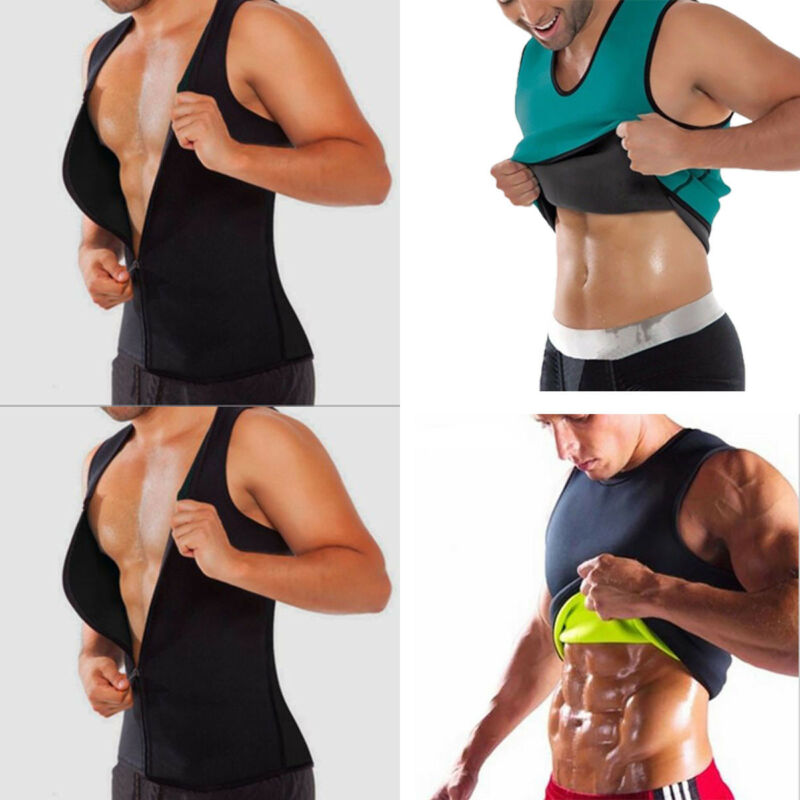 NEW Men's Slimming Neoprene Vest Body Shaper Sweat Shirt Waist Trainer Shapewear