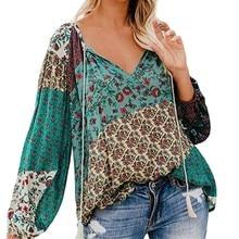 Floral Print Long Sleeve Shirt Fashion Lace-up V Neck Women Tops Boho Blouse Summer Autumn Chic Casual Blouses Shirts 2019 v neck floral print lace up front blouse