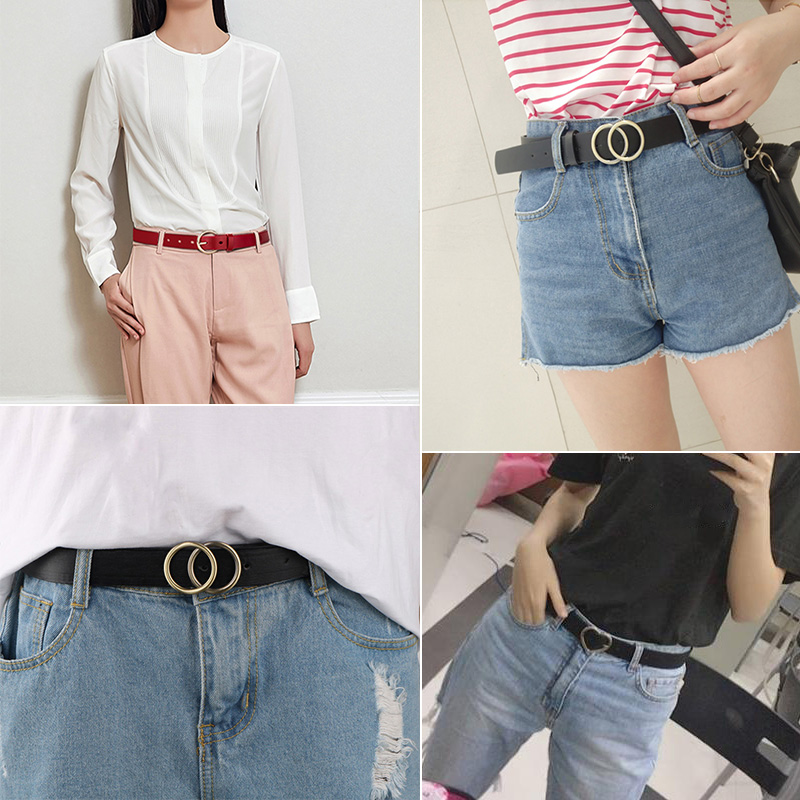 Fashion Women PU Leather Belts Heart Pearl Double Ring Buckle Candy Colors Waist Belt Ladies Leisure Dress Jeans Wild Waistband