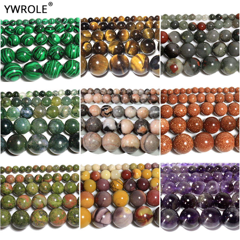 Top Natural Agates Amethysts Tiger Eye Labradorite Round Stone Beads For Jewelry Making Diy Bracelet Necklace 4/6/8/10MM