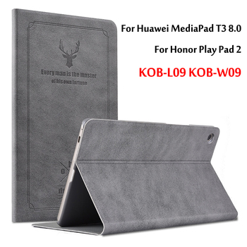 цена на For Huawei MediaPad T3 8.0 Case Protective PU Leather Stand Cover For Honor Play Pad 2 KOB-L09 KOB-W09 8 Tablet PC Cover case