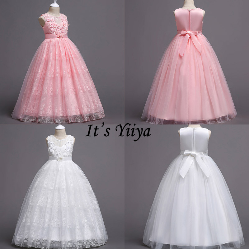 It's YiiYa Flower Girl Dresses Elegant Lace Girls Dresses For Weddings O-neck Pageant Dresses Vestidos De Noches Para Ninas 831