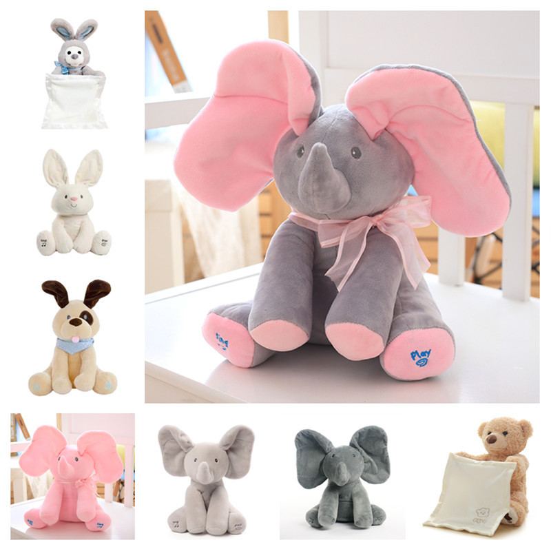 Cross Border Hot Selling Peek A Boo Teddy Bear Hide-And-Seek Bear Elephant Rabbit Electric Plush Toys