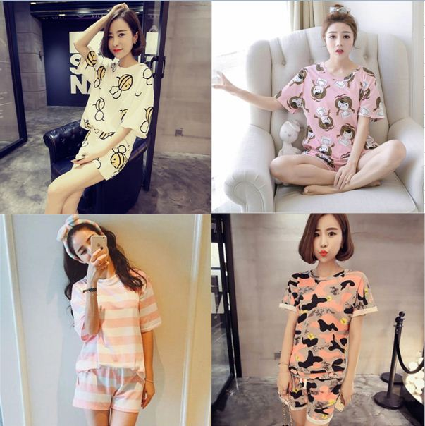 Manufacturers Wholesale Female New Casual Short Sleeve Pajamas Set Women's Cartoon Printing Sleepwear Summer Thin Home Clothing