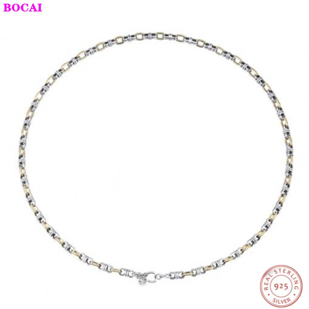 Six words of truth s925 pure silver necklace female fashion Thai silver necklace Buddhist personality sweater chain retro
