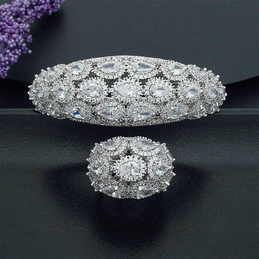 ModemAngel Luxury Water Drop Geometry Super AAA Cubic Zirconia Copper White Color Bracelet Bangle And Ring Jewelry Set For Women