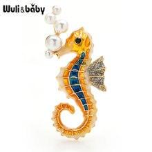Wuli & baby брошь в виде жемчужные броши морских коньков женская