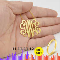 Boho Personalized Monogram Necklace Stainless Steel Chain Rose Gold Color Choker Custom Initials Pendant Necklace Women Jewelry