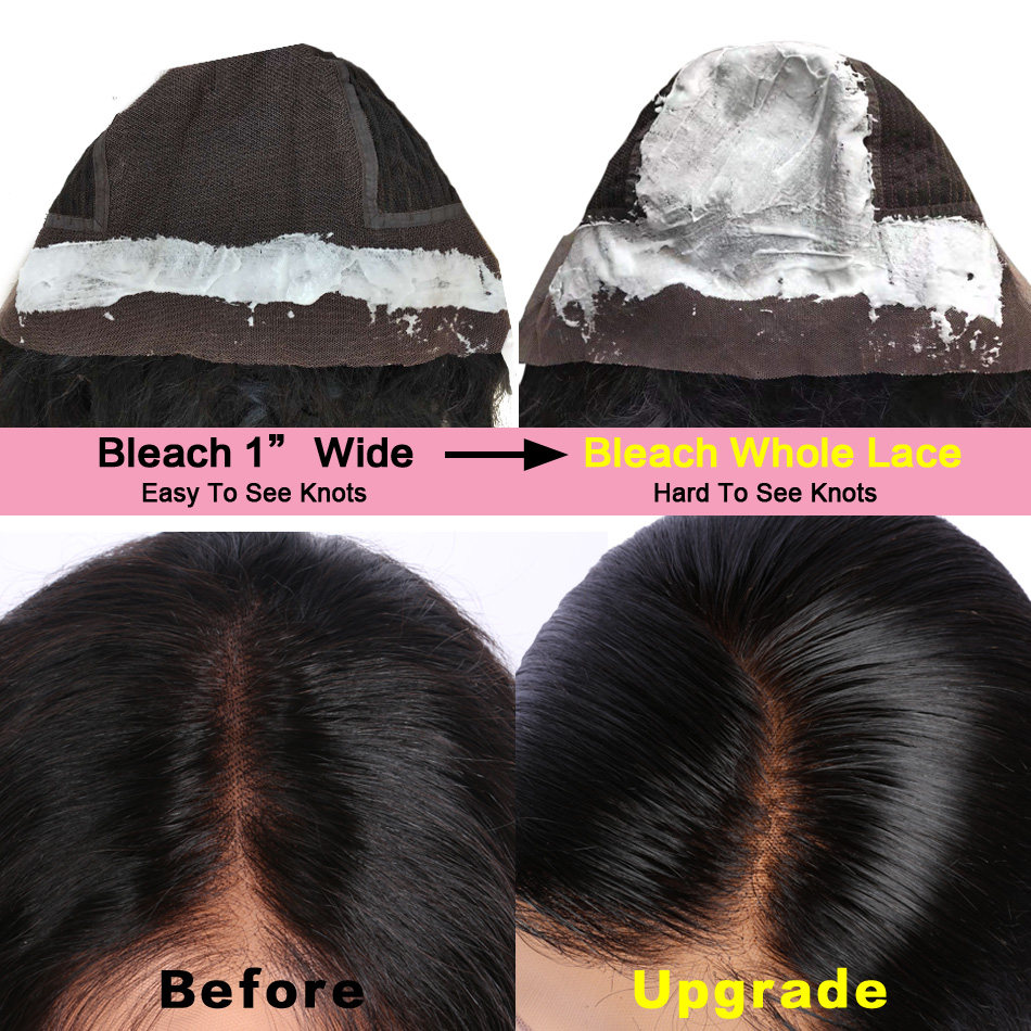 13x6 Short Human Hair Wigs Brazilian Remy Hair Lace Front Bob Wig For Women Natural Wave Black Color Bleached Knots LUFFY