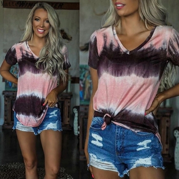 New Summer Women T Shirt Print Loose Tops Fashion Casual Women Twisted Short Sleeve T-shirt Streetwear Gradient Tops Plus Size summer tops for women fashion t shirt with sequins loose t shirt short sleeve casual fashion shiny tops
