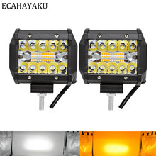 Ecahayaku 2 Buah Tiga Baris 4 Inch LED Light Bar Putih Kuning Strobo Berkedip Gaya 6 Mode untuk Off-peta SUV Perahu Jeep Hummer(China)