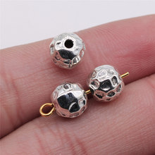 10 pces 7x8mm contas pequenas irregulares para joias que fazem as descobertas antigas da joia da cor de prata