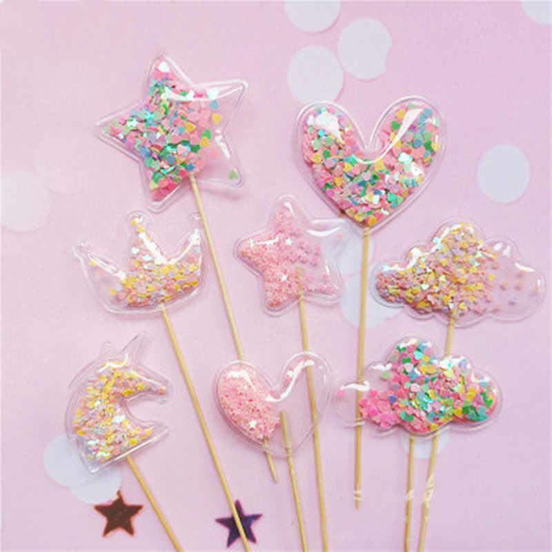 3 ピース/セット PVC ブリンブリン妖精ケーキトッパー愛クラウンクラウド光沢のあるカップケーキトッパー結婚式誕生日パーティーのケーキの装飾