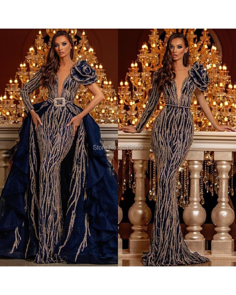 Haute Couture V Neck Mermaid Evening Dress Removable Skirt Floor Length Beaded Sequins Celebrity Dress Robe De Soiree Aibye 2020Evening Dresses   -