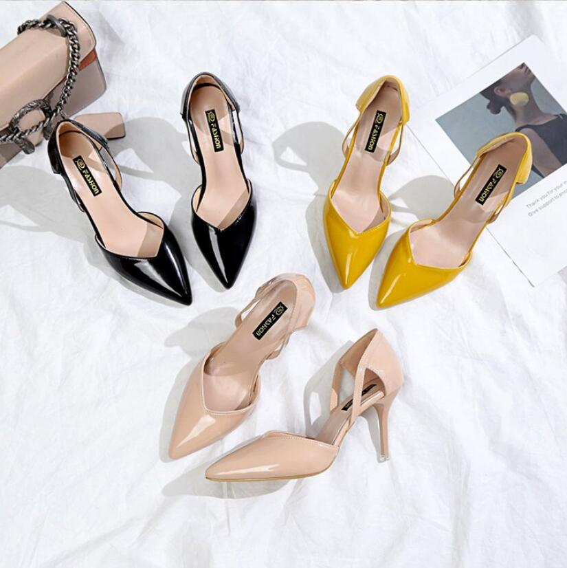 CS752 Designer Shoes 8.5CM Pointed Toe Pumps PU Leather Dress High Heels Wedding Shoes Concise Ladies Party Shoe Zapatos Mujer