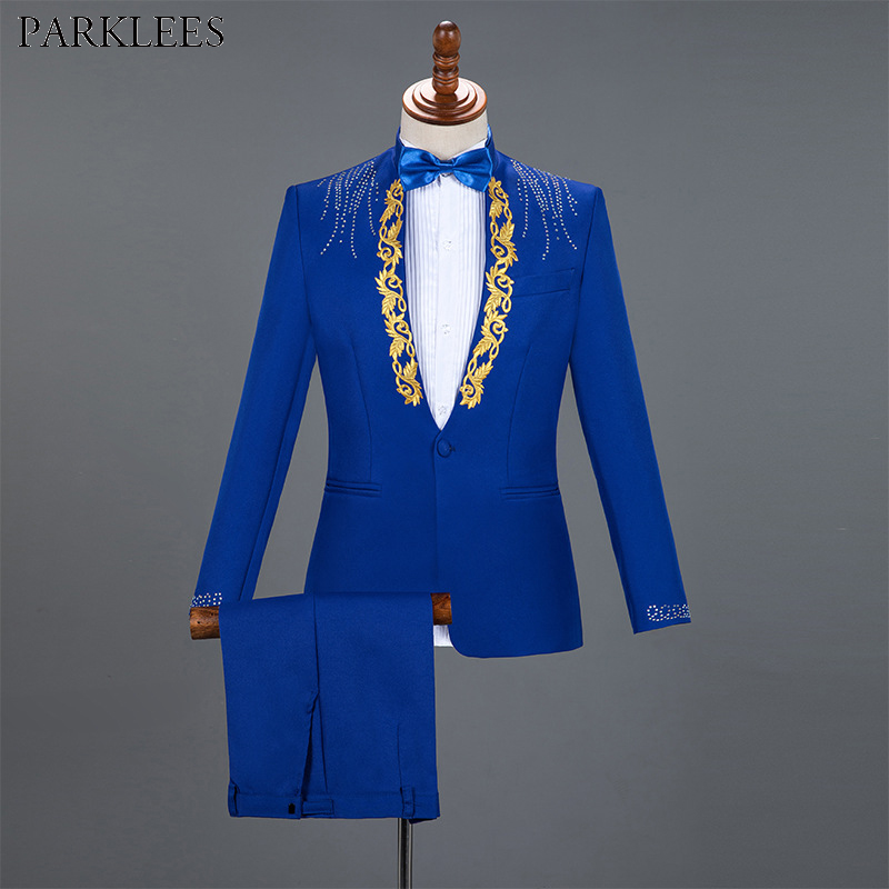 Diamond Royal Blue Men Suit Set Gold Embroidered Wedding Mens Slim Fit Tuxedo Mens Suits With Pants Prom Show Stage Costume Male