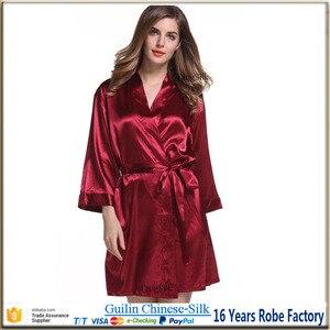 Image 3 - Шелковый халат, атласный коктейльный халат, Свадебная женская ночная рубашка для невесты, халат для подружки невесты