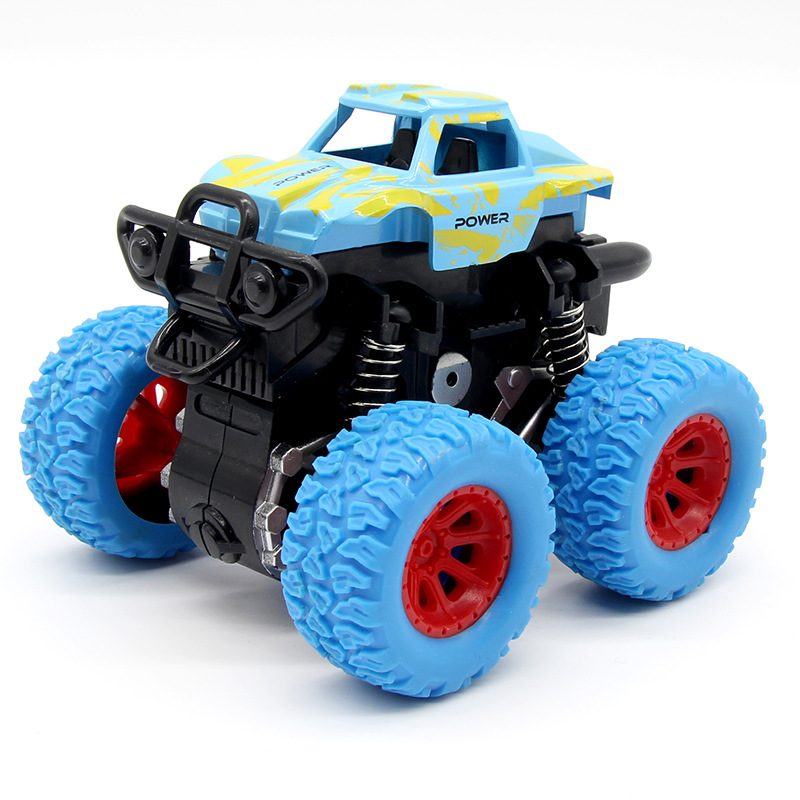 Blue Kid Inertia Car Mini Toy Children Truck Toys Pull Back Play Vehicles Friction Powered Big Wheels Cars Model