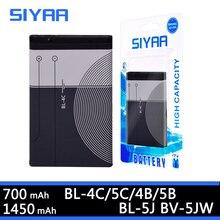 SIYAA Téléphone Batterie BL 4C BL 5C BL 4B BL 5B BL 5J BV 5JW Pour Nokia 6100 6300 6260 6136S 2630 5070 C2 01 BL 4C BL 5C BL5C Batterie