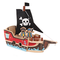 Children Woodcraft Construction Kit Sea Rover Craft Building Blocks Educational Toys Pirate Ship Model Building Kits