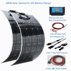 1000W Sistema solar completo de energía solar 2*100w panel de alimentación solar flexible Kit de casa solar 110 V/220 V con inversor y controlador