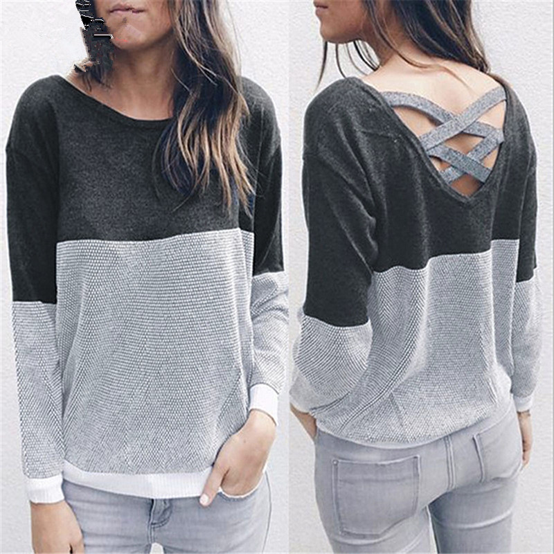 Criss Cross O-Neck Pullover Sweater Back Hollow Out Bandage Women Jumpers Pullovers Long Sleeve Knit Sweater Pull Femme