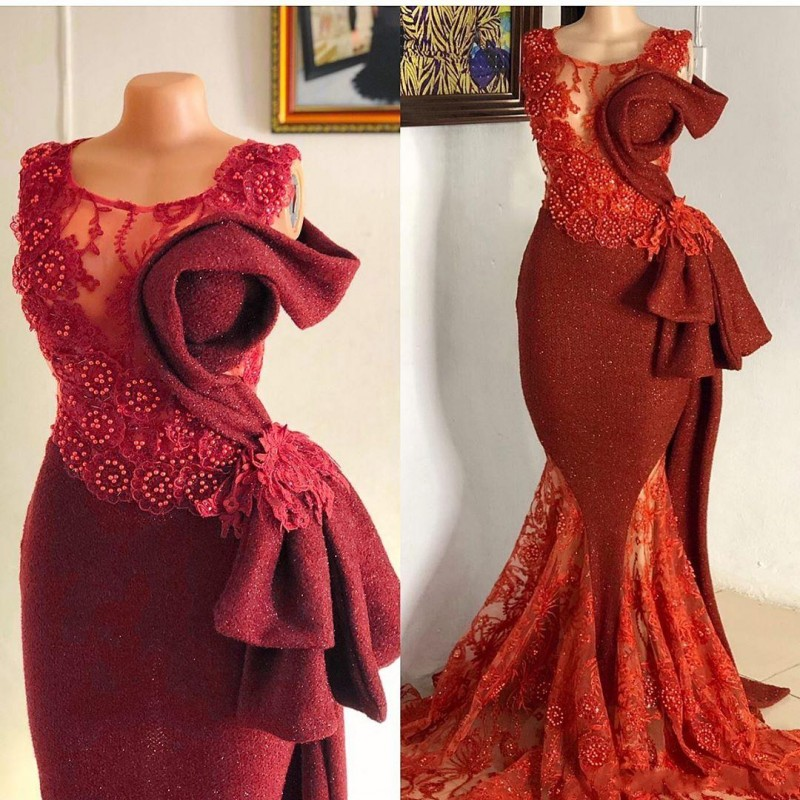 Aso Ebi Lace Beaded <font><b>Mermaid</b></font> Evening <font><b>Dresses</b></font> Sheer Neck Beads Pearls Prom <font><b>Dress</b></font> Plus Size Robe de soiree Formal Party Gowns image