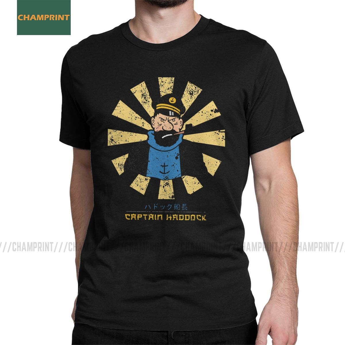 Captain Haddock Retro Japanese The Adventures Of Tintin T Shirt Men Cotton T-Shirts Herge Comic Snowy  Dog Tees Short Sleeve