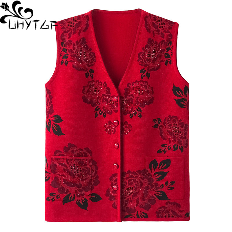 UHYTGF Women vest Fashion flower beaded knitted spring autumn vest waistcoat casual warm women's sleeveless jacket plus size 737