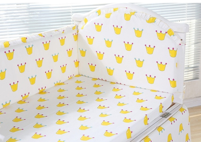 6PCS Baby Crib Bedding Set Package Washable Cotton Ruffle Ultra Baby Bed Safety Fence (4bumpers+sheet+pillow Cover)