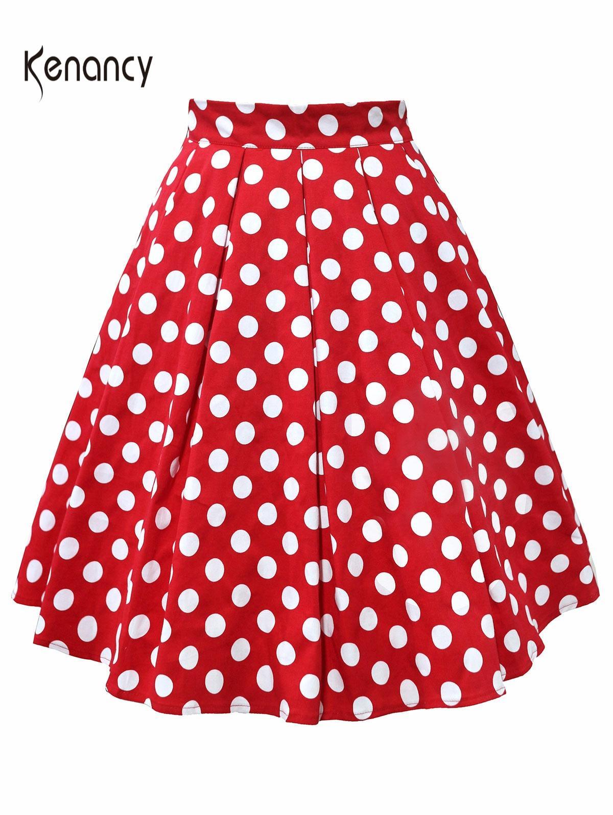 Kenancy Women Cotton Summer Skirt Red Black White Polka Dot High Waist Vintage Tutu Skater Faldas Mujer Casual Swing Midi Skirts