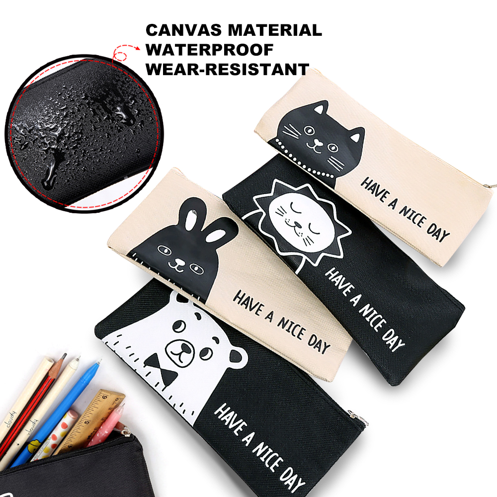 Lovely Large Capacity Pen Bag, School Office Supplies Kawaii Animal Pencil Bag, Creative Simple Canvas Stationery Bag, Cartoon