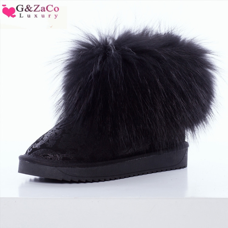 G&ZaCo Luxury Women Boots Genuine Leather Natrual Fox Fur Snow Boots Thick Plush Short Black Printing Fashion Winter Boots