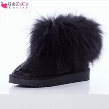 G&ZaCo Luxury Women Boots Genuine Leather Natrual Fox Fur Snow Thick Plush Short Black Printing Fashion Winter