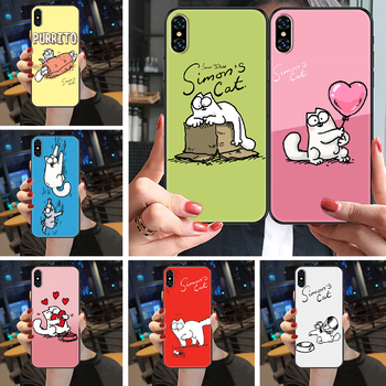 Cute Simons Cat Phone Case Cover Hull For iphone 5 5s se 2 6 6s 7 8 12 mini plus X XS XR 11 PRO MAX black silicone bumper luxury image