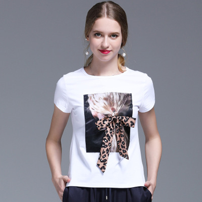 95% Cotton Leopard Bow T-shirt Female Summer Tops Kawaii Black Tee Shirt Femme White T shirt Short Sleeve Women Casual TShirt image