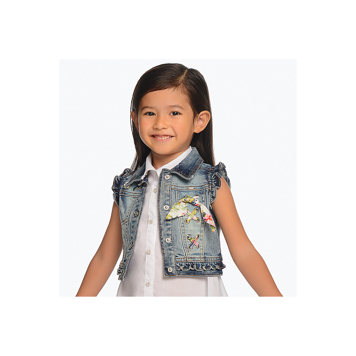 MAYORAL Vests & Waistcoats 10690876 jacket Cotton Blue Girls Casual Denim ribbed hem zip up denim jacket